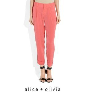 ALICE + OLIVIA Arthur cropped silk-blend pant